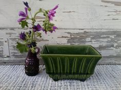 Check out this item in my Etsy shop https://www.etsy.com/listing/102047731/retro-olive-green-planter-vintage