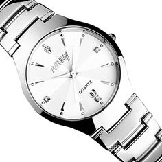 WatchZYooh Luxury Single Calendar Quartz Stainless Steel Date Wrist Watches 1 Pair White >>> Click image for more details.