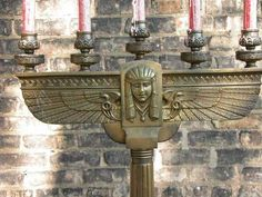 PR Impressive Art Nouveau Egyptian Revival Bronze Candelabra Candle Holders | eBay