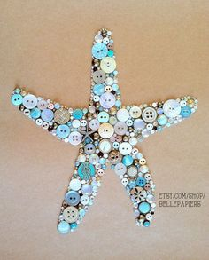 8x10 Button Art Starfish Button Art & Swarovski by BellePapiers-- I could do this myself!