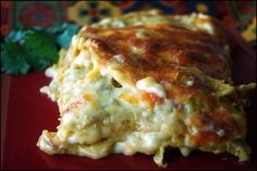 "I wonder how it compares to enchilada casserole. Previous pinned: "" Enchilada Lasagna - I LOVE this recipe. It's easy, has few ingredients, and is absolutely DELISH. Think Food, I Love Food, Food For Thought, Good Food, Yummy Food, Yummy Eats, Fun Food, Enchilada Lasagna, Enchilada Casserole"