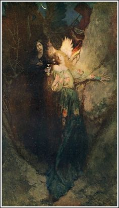 """""""In the Valley of the Shadows"""" (1902) By Howard Pyle (1853-1911) Travels of the Soul Series: 3rd piece in series, oil on canvas, United States. #angels"""