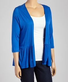 Another great find on #zulily! Blue Open Cardigan - Plus #zulilyfinds