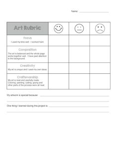 Art Rubric for Elementary Do you use rubrics for self-assessment with your students? I developed this rubric based on others I had seen online. I wanted to get my students thinking more about their artwork and writing a few sentences in reflection. Middle School Art, Art School, High School, Art Education Projects, Art Projects, Rubrics For Projects, Class Projects, Grade 1 Art, Student Self Assessment