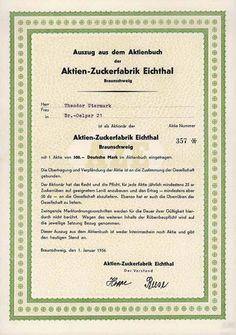 Aktien-Zuckerfabrik Eichthal / Aktie 300 DM 1.1.1956 (Auszug aus dem Aktienbuch, Auflage 1200)