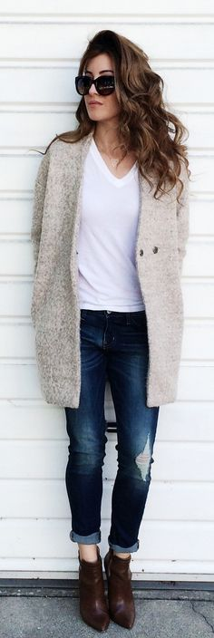 #street #style casual / coat + tee + denim @wachabuy