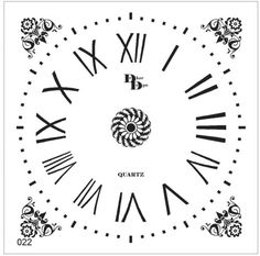 Clock Template, Face Template, Clock Face Printable, Decoupage, Clock Parts, Wooden Clock, Laser Engraving, Stencils, Printables