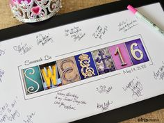 Sweet Sixteen Guest Signing print, Alphabet Photography,  Sweet16 party, party decor by FrittsCreative on Etsy https://www.etsy.com/listing/222541341/sweet-sixteen-guest-signing-print