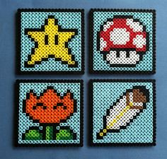 Nintendo Super Mario World Items Themed Perler Bead Coasters Set of FOUR Mushroom, Star, Fire Flower, Feather by PorcupineSpines, $17.00