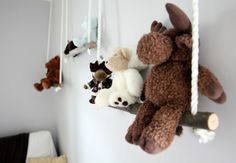 create shelves, or swings, out of branches for all the stuffed toys. This was a fairly simple project, at a very low cost, that looks like a million bucks!
