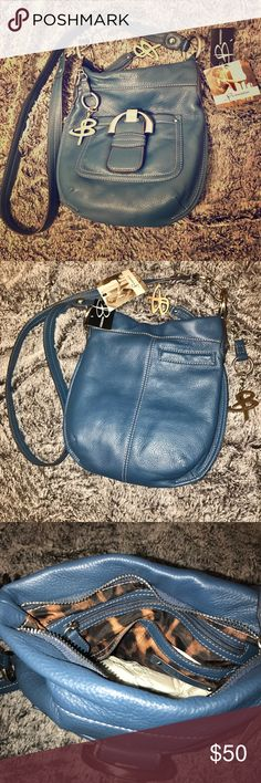 B Makowsky Cross Body Purse Brand New, Navy Blue, Fine Quality Leather with Cheetah print on the inside. B Makowsky Bags Crossbody Bags
