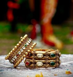 Gold kada bangle bracelets from manubhai jewellers, Statement antique gold bangles. Broad gold bangles and paisley ring Antique Jewellery Designs, Antique Jewelry, Gold Jewelry, Antique Gold, Jewelry Accessories, Kundan Bangles, Bridal Bangles, Pearl Necklace Designs, Gold Bangles Design