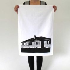 Statehouse Tea Towel - Black By Genevieve Packer Reading Art, Clever Design, Tea Towels, Reusable Tote Bags, White Space, Stuff To Buy, Black, Books, Fashion