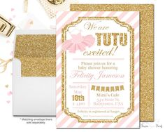 Girls Baby Shower Invitations Tutu Baby by ForeverYourPrints