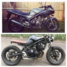 Scrambler motorrad ideen honda cb ideen - Before and after - motorcycle transformations - Kawasaki Cafe Racer, Suzuki Cafe Racer, Gs 500 Cafe Racer, Virago Cafe Racer, Yamaha Virago, Bobber Motorcycle, Cafe Racer Motorcycle, Motorcycle Garage, Honda Cb