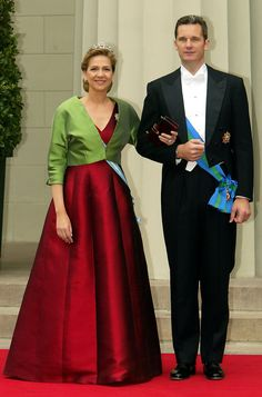Princess Christina of Spain and her husband Inaki Urdangarin arrive at Copenhagen Cathedral for the wedding ceremony; wedding of Crown Prince Frederik of Denmark and ms. Mary Donaldson, May 14th 2004