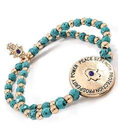 Accessory Accomplice Goldtone Round Hamsa Charm Double Strand Turquoise Seed Bead Stretch Bracelet Accessory Accomplice http://www.amazon.com/dp/B00HCPQAZ0/ref=cm_sw_r_pi_dp_7559tb1TSBACM