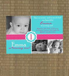 Pink and Turquoise Girls Birthday Invitation - Printable Girl's First Birthday Invitation