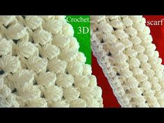 Bufanda a Crochet en punto 3D de hojas reversibles tejido tallermanualperu - YouTube