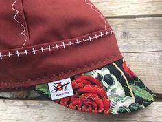 2c6c2c9414e1c Burgundy Skulls & Roses Size 7 5/8 Canvas Welding Cap Custom Welding Caps,