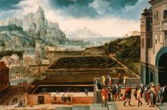 Landscape with David and Bathsheba, about 1535-1540, Herri met de Bles, Netherlandish, about 1510-after 1550, Oil on wood, 46.2 x 69.2 cm