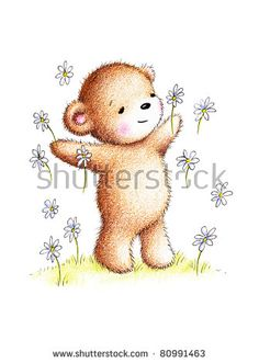 happy teddy bear with daisies on green lawn