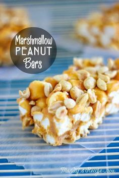 Marshmallow Peanut Bars on Mandy's Recipe oz. jar of dry roasted peanuts 3 Tbsp. peanut butter chips 14 oz can sweetened condensed milk 10 oz. 13 Desserts, Delicious Desserts, Yummy Food, Tasty, Healthy Food, Candy Recipes, Sweet Recipes, Dessert Recipes, Peanut Recipes