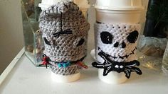 Jack Skellington cup cozy (on the right) - free crochet pattern by Janet Rose. The other one is Oogie Boogie and can be found here: http://www.ravelry.com/patterns/library/oogie-boogie-cup-cozy