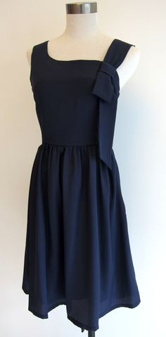 navy blue dress with ribbon by bittersweetboulevard on Etsy