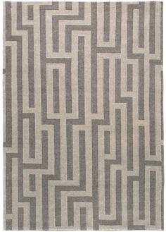Kush Handmade Rugs | Geometric Modern Greys C-2737 Rug is stocked in standard sizes.  Size 6'x9'