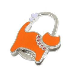 Amico Orange Silver Tone Cute Cat Design Metal Folding Handbag Hook by Amico. $6.33. Folded Size : 5.2 x 1 x 6.8cm / 2 x 0.4 x 2.7inches(L*W*H);Size : Small;Height : 9cm / 3.5inches. Style : Foldable;Suitable for : Lady;Pattern : Pure. Net Weight : 70g;Package Content : 1 x Handbag Hanger. Brand : SourcingMap;Size Type : Regular;Color : Orange. Exact Color : Purple,Silver Tone;Shade : Medium Orange;Material : Plastic, Metallic. Unfold the hook to hang hangbag or p...