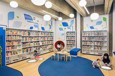 Jackie and Harold Spielman Children's Library Books Public Library Design, Library Signage, Library Week, Kids Library, Dream Library, Library Books, Port Washington, Class Design, Kids Lighting