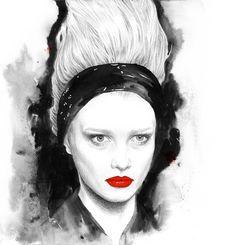 Fashion illustration of a model at a Karl Lagerfeld show; fashion sketch // Jutta Rikola