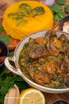 Aloo Esfenaj is a mouthwatering Persian lamb stew with golden sour prunes and spinach. It has a delicious sweet and sour taste and tastes heavemly served with Persian saffron rice. Saffron Rice, Lamb Stew, Sour Taste, Iranian, I Got This, Free Food, Persian, Spinach, Curry