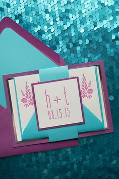 Beautiful Floral Letterpress Wedding Invitations, Digital Printed Wedding Invitations, Orchid Wedding, Turquoise Wedding, Romantic Wedding Invitations, Floral Wedding Invitations, Exclusively designed by Rich Girl Collections, http://justinviteme.com/products/hadley-suite-styled-fancy-package?variant=1171911181