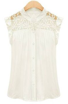 White Contrast Lace Ruffles Chiffon Blouse - Sheinside.com