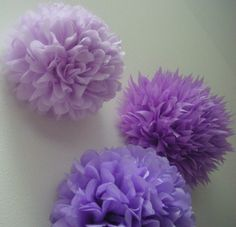 Lavender Love ... 3 tissue paper poms // birthday // nursery decoration // wedding reception // party decorations. $13.00, via Etsy.