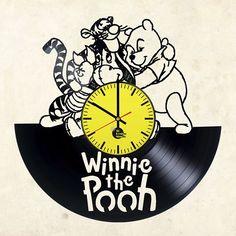 Winnie the Pooh Handmade Vinyl Record Wall Clock Fan gift - VINYL CLOCKS