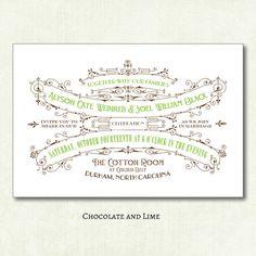 20 Deco Scroll Wedding Invitations  as low as by BullCityStudio, $35.00