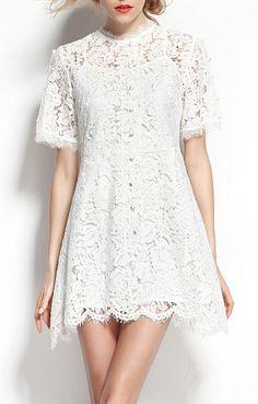 A-line Wave Hem Short Sleeves White Lace Dress