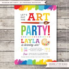Printable Art Party Invitation  Rainbow Paint by SunshineAndPop, $16.00