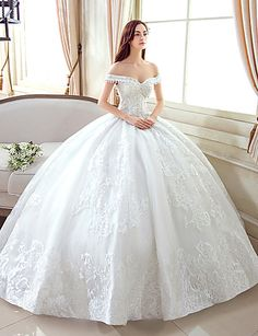 Ball Gown Wedding Dress Floor-length Off-the-shoulder Lace / Tulle with Pattern 5150533 2016 – $159.99