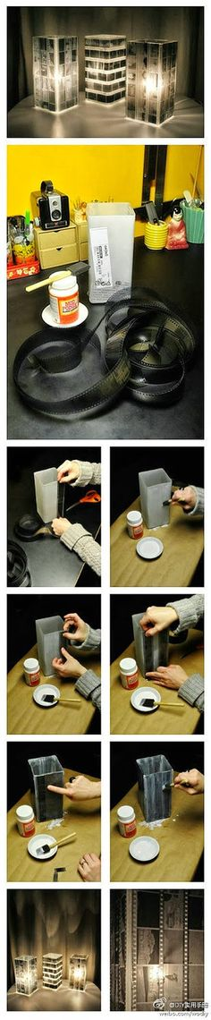 Film Strip Lampshade - Film Strip Lampshade Here is one really simple but interesting idea how to make an elegant lampshade. You just need a film tape and a glass or plastic vessel. Stick the tape round it and put lights. The creation is easy to do but is also really effective.