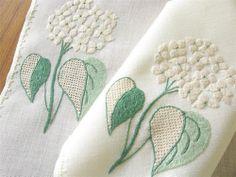 Vtg ITALIAN Embroidered HYDRANGEAS Flowers 16 pc Placemats Napkins PUNTO STUOIA