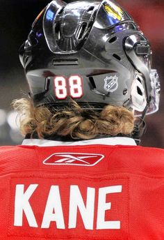 """Whenever Hockey Boy sees 88 from the back he says """"Kaner has curls out his helmet just like me!"""" It always makes me laugh!"""