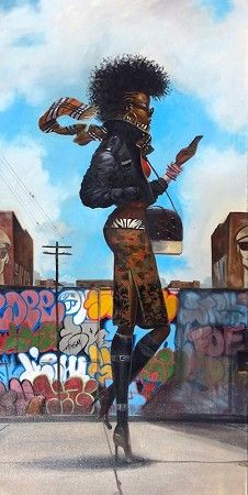 """aguycalledkwest: """"fuckboyizm: """" loopez: """" Back 'N' The Dayz, by Frank Morrison. """" I really love this """" Dope art! African American Artwork, American Artists, African Art, Black Girl Art, Black Women Art, Frank Morrison Art, Arte Black, Christmas Paintings On Canvas, Natural Hair Art"""