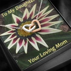 To my Daughter Mom Daughter, Interlocking Heart Necklace for Christmas – Shiny Jewelry Charm
