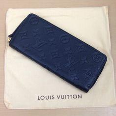 ルイ・ヴィトン【LOUIS VUITTON】 ポルトフォイユ・クレマンス M60171 モノグラム・アンプラント ノワール ラウンドファスナー長財布