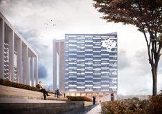 КОНЦЕПЦИЯ КОМПЛЕКСНОЙ ЗАСТРОЙКИ, МИКРОРАЙОН ПАВШИНО. Офисный центр. Проектное бюро BADR5 #BADR5 Skyscraper, Multi Story Building, Projects, Log Projects, Skyscrapers