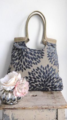 Blue tapestry tote bag with jute fashion 2013 by madebynanna, $69.00